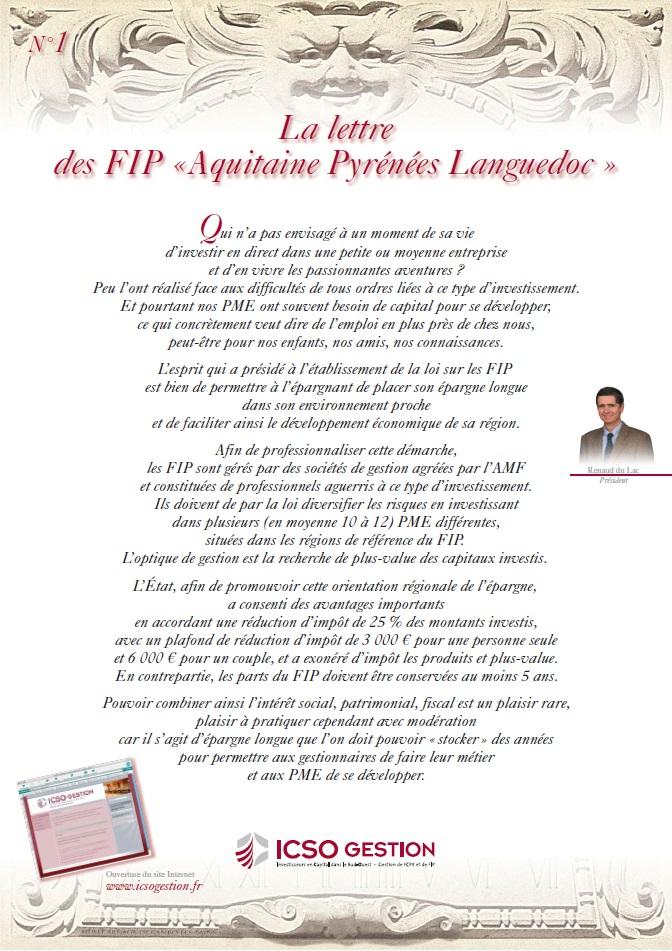 Lettre FIP iXO n°1
