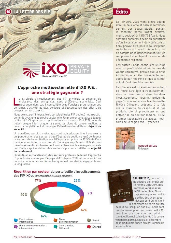 Lettre FIP iXO n°10