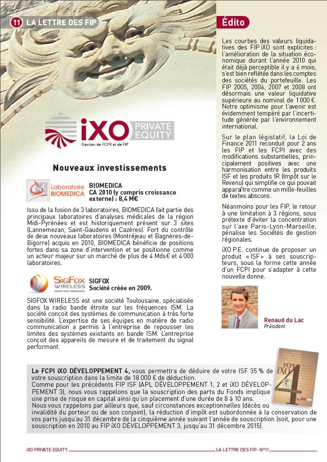 Lettre FIP iXO n°11