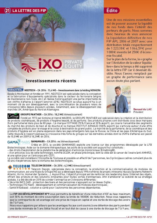 Lettre FIP iXO n°21