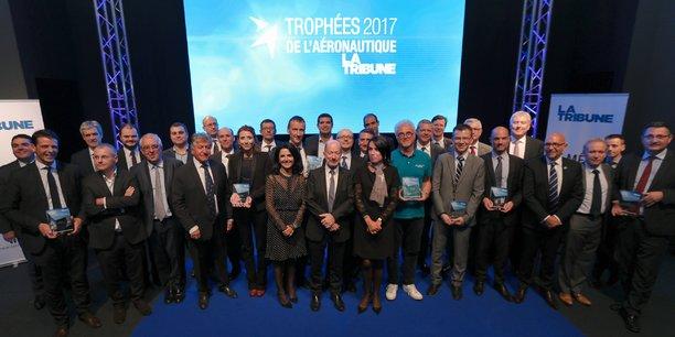 Les lauréats des Trophées de l'aéronautique 2017. (Crédits : Remi Benoit)